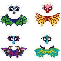 Kids Dragon Dinosaur Wing Mask Set Boys Girls Dress Up Costume Full Face Masks Cape Props Party Supplies Felt