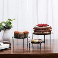 皿プレートアクリルケーキスタンドラウンドカップケーキホルダーリムーバブルデザートディスプレイラックサービングトレイパーティーウェディングフェスティバル3pcs /セット