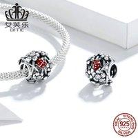 Wostu Marienkäfer Charme 925 Sterling Silber Blume Runde Perle Anhänger Fit Original Armband Halskette DIY Schmuck Zubehör 974 T2