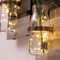 Jarrones Montado en pared Contenedor de contenedores de vidrio Jarrón de vidrio Pastoral Muro Colgante Flor de madera Arreglo Floral Light Decoración