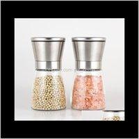 Moinhos de aço inoxidável manual de pimenta de pimenta de pimenta geladeira de vidro Cozinha de cozinha Ferramenta Premium sal moedor kka2073 3fypb zykrh