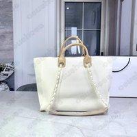 Klassische Deauville Denim Taschen Kette Tasche Wolle Filz Große Designer Leinwand Einkaufstasche Lederketten Handtasche Marke LUXURYS Womens Übergroße Perle