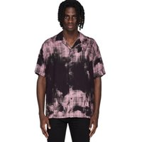 Hip Hop 20SS camisa de tartán blanqueado hombres Mujeres 1: 1 Tag Beach British Top Tiele Tye Tyle Botón a cuadros representa Vintage Camisas casuales para hombres