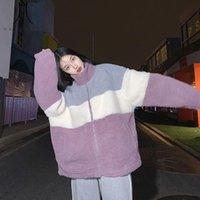 Women's Fur & Faux Heydress 2021 Women Harajuku Winter Coat Female Padded Oversized Lambswool Wool Jacket Lady Patchwork Outerwears