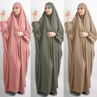 EID à capuche Musulman Femmes Hijab Robe Vêtement de prière Jilbab Abaya Long Khimar Couverture complète Ramadan Robe Ramadan Vêtements islamiques 2021 Tissu ethnique