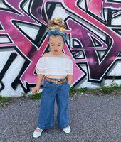 Abbigliamento per bambini Set di ragazze Abiti da ragazze Vestiti per bambini Abiti da bambino Abiti da bambino Indossare Bambini Abbigliamento in pizzo Top Denim Pantaloni Denim 2PCS B7596