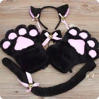 Five Fingers Gloves 5 Pcs Set Anime Cat Ear Tail Tie Coffee Shop Maid Cosplay Role Play Kitten Costume Party Halloween Carnival Whole