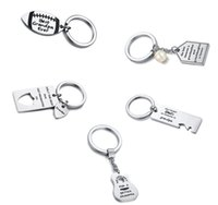 2pcs Stainless steel Keychain Drive Safety Couple Lover Keyring Men Husband Boyfriend Birthday Gift From Daughter Son Father Mother Grandpa