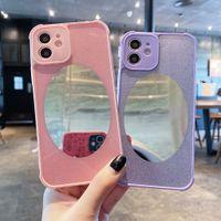Bling Makyaj Aynası Sparkle Glitter Cep Telefonu Kılıfları Için Kız Bayan Iphone 12 11 Pro Max XR XS X 8 7 6 Artı