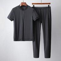 Ensembles Mes Summer (T-shirt + Pantalon) Collier de luxe à manches courtes Sport Casual Homme Casual Homme Fashion Slim Fit Homme 4XL Tracksuits hommes