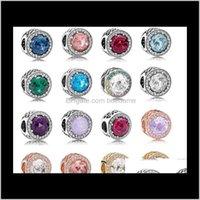Crystal lâche bijoux Livraison 2021 Perles 925 Opal String Charm 16 Styles DIY AVEC SIER BRACELET PAN en gros FQFLO