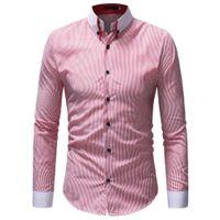 Camisa para hombre Small Stripe Shirt 2020 Moda de manga larga Casual Camisas Algodón Negocio Social Vestido Camisa para hombre Ropa para hombre