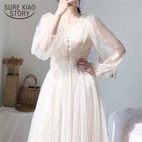 Dress Women Spring Plus Size Midi Dresses Elegant A-Line Vestidos Solid Puff Sleeve V-Neck Ladies Lace Dress Mesh 8126 50 210915