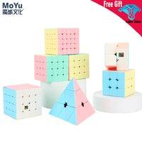 최신 Macarons 시리즈 매직 큐브 2x2 3x3 4x4 5x5 피라미 닌스 스티커리스 3x3x3 속도 큐브 만화 색상 퍼즐 장난감