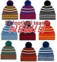 Nouveaux Bonnets de sidéline de Noël chapeaux Football américain 32 Équipes Sports Hiver Side Line Knit Caps Bonnet Chapeaux tricotés en gros ch