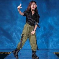 Girls Cool Jazz Moderno Dancing Trajes Sudadera Jogger Pantalones Kids Ballroom Hip Hop Dance Wear Street Ropa Street Stage