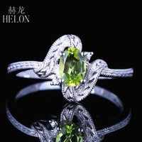 Cluster anéis helon sólido 10k branco ouro certificado oval 4x6mm genuíno natural peridot diamante vintage antigas mulheres engajamento casamento rin