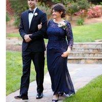 الأزرق الداكن والدة العروس فساتين سكوب طويل الأكمام الدانتيل يزين الشيفون الرسمي مساء حفلة موسيقية حفل زفاف فساتين فساتين مخصص