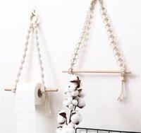 2 stücke Nordic Macrame Wand hängen Holzstock Toilettenpapierhalter Handtuchhalter Dekor 2138 v2