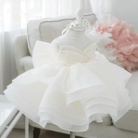 2021 Vintage Flower Girls Dresses Ivory Baby Infant Toddler Baptism Clothes Lace Tutu Ball Gowns Birthday Party Dress