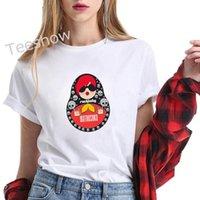 Women's T-Shirt Rock Baby Print Summer Short Sleeve Tee Shirt Femme Matryoshka Fashion White Tops Punk Cute Cartoon T Women