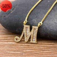 26 unids / lote Color de oro de lujo A-Z Collar de letras de cobre CZ colgante Linda iniciales Nombre Fiesta de la moda Joyería de la boda