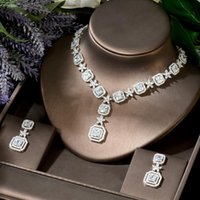 Shiny African White Cubic Zirconia Bridal Necklace Jewelry Set For Women Wedding Evening Party Dress Accessories N-1833 Earrings &