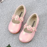 Flat Shoes Pink White Black Children Leather Girls Flowers Princess Spring Autumn Kids Chaussure Fille 3 4 5 6 7 8 9-13T