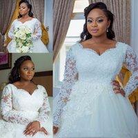 2021 Robes de mariée Plus Taille Dentelle Applique Cristal Perlé Robe de billes Perles Sweetheart manches longues Robes de mariée arabes