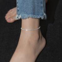 TrustDavis Minimalist 100% 925 Sterling Silver Moda Babysbreath Łańcuch Anklety Dla Kobiet Ślub Silver 925 Biżuteria Prezent 1307 Q2