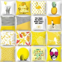 Geometrik Yastık Kılıfı Sarı Ananas Glitter Polyester Kanepe Dekoratif Yastık Kapak Ev Dekor için 45x45 cm Şeftali Kadife Yastık