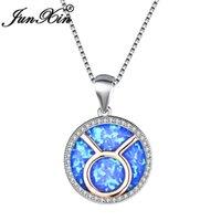 Kolye Kolye Junxin Beyaz Altın Dolgulu Takımyıldızı Toros Yay Kadınlar Için Yuvarlak Mavi Yangın Opal Kolye Hediye