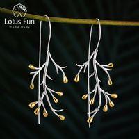 Lotus Divertido Real 925 Brincos de Prata Esterlina Natural Criativo Fine Jewelry Declaração Tree Fashion Droping Brincos para Mulheres Brincos