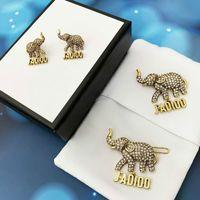 2021 new d letter retro diamond elephant earrings earrings female D home net red popular elephant brooch hairpin