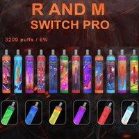 Original Randm Switch Pro 2 en 1 Kit de dispositivo desechable 1000mAh Batería Preculada 7ml PODS 3200 Puffs Vape Stick Pen LGB LED Barra de luz más 100% auténtica R y M