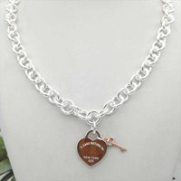 Chains S925 TIF Sterling Silver Heart And Key Tag Necklace For Women Thick Chain Personality Girlfriend Jewelry On Neck