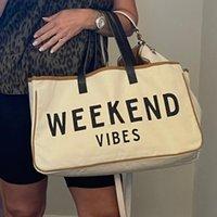 """Bolsas de pañales bolsa de gran capacidad 20 """"x 11"""" Vibes de fin de semana Playa Votton Bolsbag en letras negras en color crema Dropships"""