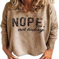 TR2I 2020 NOOPE NOUPE NOUSE NOUSE буква T-женская повседневная с длинным рукавом круглые шеи 2020 NOPE не сегодня буква T-женская рубашка футболка повседневная