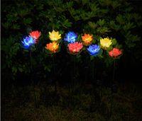 Lotus цветок свет светодиодный водонепроницаемый солнечный пруд садовые украшения многоцветный изменяющийся ландшафт декоративный открытый лужайкий лампа моря HHC7578