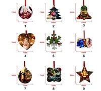 50%off Sublimation Blank Christmas Ornament Double-Sided Xmas Tree Pendant Multi Shape Aluminum Plate Metal Hanging Tag Holidays