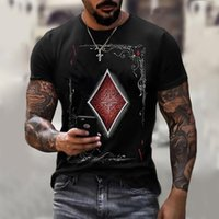 Men's T-Shirts Playing Card 3D High Street Tops Casual Fashion Short Sleeve Summer Round Neck Shirt Daily Wear
