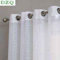 DZQ Massivfarbe Weiß Sheer Vorhang für Wohnzimmer Schlafzimmer Küche Tür Fensterbehandlung Modern Haushalt Voile Tüll 210608