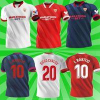Sevilla FC Soccer Jersey 20 21 Papu Gómez I.rakitic L.OCAMPOS DE JONG J.NAVAS SUSO MUNIR Y.ES-NESYRI 2021 Hombres + Kits Kits Camisetas de fútbol