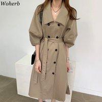 WOHERB Kore Chic Uzun Trençkot Kadınlar Zarif Çift Göğüslü Yarım Puf Kollu Rüzgarlık Ofis Lady Casual Ince Ceket