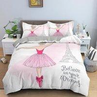 Bedding Sets Dancing Girl Duvet Cover Ballet Girls Set Bed Linen Home Textile Bedclothes Soft Queen King Size For Kids