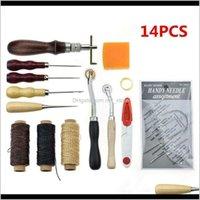 Материалы изготовления LAGE 14-е годы DIY кожаный ремесленник инструмент для штамповки набор швейной восковой нити игла рука ручной работы W9H8G ysiti