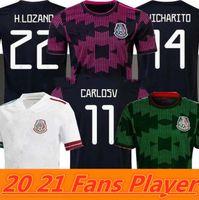 Вентиляторы игрока версия Мексика футбол трикотажные майки COPA AMERIA CAMISETAS 20 21 CHICHARITO LOZANO DOS SANTOS MORENO ALVAREZ Guardado 2021 футбольные футболки мужские + детские наборы