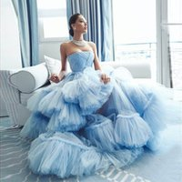 Baby Blue Prom Gown Strapless Tiered Ruffled Puffy Tulle Evening Dress A Line Celebrity Pageant Dresses robe de soiree