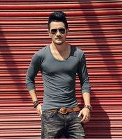 Slim Fit Koşu Spor T-shirt Effen Renk O Boyun T-Shirt Erkekler Uzun Mouwen Katoen Spor Salonu Fitns Fanila Yeni Com