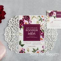 인사말 카드 2021 중국 도매 멋진 수제 종이 레이저 잘라 내기 게이트 폴딩 결혼식 초대 카드